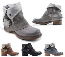 Ladies Faux Leather Stud Buckle Strap Collar Mid Heel Cowboy Ankle Boots Shoes