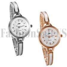 Women's Rose Gold Silver Tone Round Dial Stainless Steel Quartz Wrist Watch Gift
