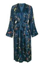 New ex TOPSHOP teal satin bird print dressing gown robe  RRP £65.00