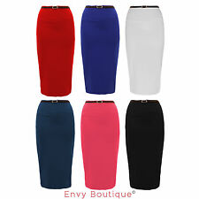 Womens Plain Bodycon Pencil High Waisted Ladies Stretch Midi Belted Skirt