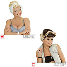Rockabilly Girl Wig with Scarf  Rock n Roll Fancy Dress 50s 60s Chick Housewife