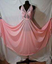 VTG 60'S OLGA BODYSILK STYLE 9687 PINK FULL SWEEP LACE NYL.ON NIGHTGOWN SIZE P