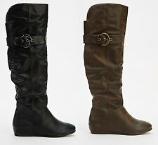 WOMENS LADIES FAUX LEATHER ZIP ROUCHED MID CALF KNEE HIGH HEEL BOOTS SHOES SIZE