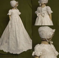 2016 Vintage New Baby Infant Baptism Christening Gown Dress Bless +Cap Ivory Hot