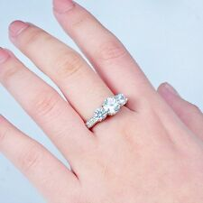Jewelry Size 6-9 10KT White Gold Filled Ring White Sapphire Wedding Band Ring