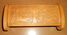 HAND-CARVED WOOD BOX WITH HUNTING SCENE, PROBABLY EUROPEAN