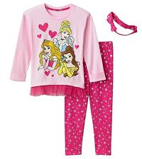 NWT Disney Princess Princesses Pink Tunic and Legging Set w/Headband Girls 4,5,6