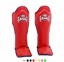 TOP KING GENUINE LEATHER MUAY THAI SHIN GUARDS- TKSGP-RED - DURABLE/COMFORTABLE!