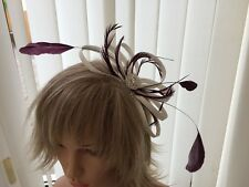 WHITE & AUBERGINE  SINAMAY AND FEATHER FASCINATOR, CAN BE CUSTOM MADE WEDDINGS