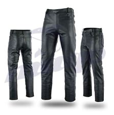 Mens Motorbike Motorcycle Fashion Leather Jeans Trouser Pant