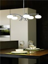 LED MODERN 5 LIGHT CHANDELIER. CHROME WITH OPAL GLASS - BY EGLO OF AUSTRIA