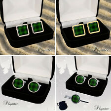 MACARTHUR SCOTTISH CLAN TARTAN MEN'S CUFFLINKS / TIE SLIDE SET GIFT ENGRAVING