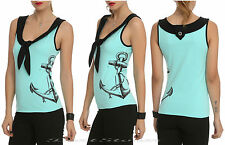 NEW 1950'S ROCKABILLY RETRO ANCHOR SAILOR TANK TOP MINT GREEN HOT TOPIC EXC.
