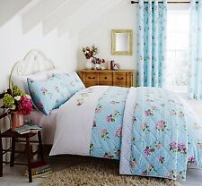 Catherine Lansfield Duckegg/Multi Embroidered Floral Duvet Set