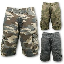 MENS CAMOUFLAGE MULTI POCKET CARGO CAMO SHORTS MILITARY WORK HUNTING SHOOTING
