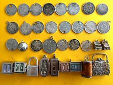 Vintage sterling silver charms MONEY THEME: old coins, Ten shillings note