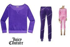 JUICY COUTURE CREW TOP AND SLIM PANT Track SET new L XL in Brght Violet $190