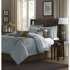 Luxury 7pc Blue & Brown Microsuede Comforter Set AND Decorative Pillows