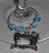 Singer Sewing Machine Charm & Crystals Wine Glass Charms  set of 6