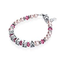 Swarovski Pink Pearls and Rose Crystals Personalized Name Bracelet