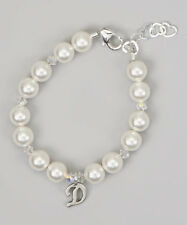 Swarovski White Pearls and Crystals with Personalized Sterling Silver Bracelet