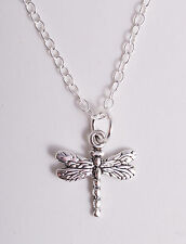 STERLING SILVER PRETTY DRAGONFLY CHARM PENDANT CHAIN NECKLACE 925