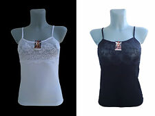 Ladies Camisole Womens Tank Top Vest Cotton Lace Embroidered White Black