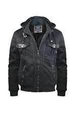 Men's Fleece Lined Heavy Jacket with Removable Hood Faux Leather Accents