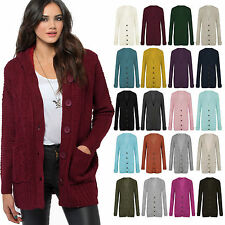 Ladies Womens Long Sleeve Front Button Top Chunky Cable Knitted Grandad Cardigan