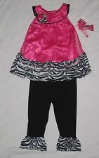 NWT Infant Baby Girls ANGEL FACE Pink Zebra Shirt Leggings Outfit -12 & 18 month