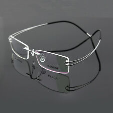 Pure β- Titanium Spectacles rimless flexible hingeless Optical eyeglass frame Rx
