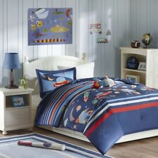Luxury Blue Rocket Ships & Outer Space Comforter Set AND Decorative Pillow