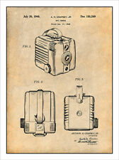 1948 Kodak Box Camera Patent Print Art Drawing Poster 18X24