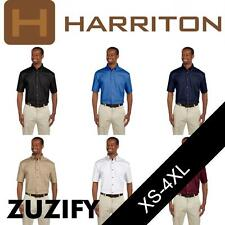 Harriton Mens Short-Sleeve Twill Shirt with Stain-Release. M500S