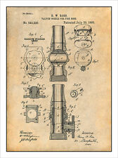 1895 Ross Fire Hose Nozzle Patent Print Art Drawing Poster 18X24