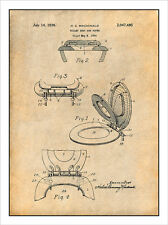 1934 Toilet Seat and Cover Patent Print Art Drawing Poster 18X24