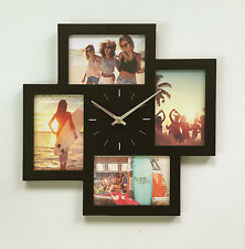 Wall Clock Multi Photo Frame 4 openings Home Decor Gift BLACK / WHITE NEW