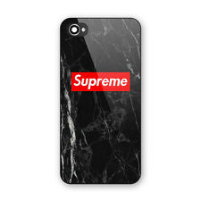 Supreme Logo Black Marble Print Hard Plastic Cover For iPhone 5s 6 6s 7 & 7 Plus