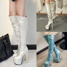 Sexy Womens High Heels Platform Metal Color Knee High Party Boots Shoes AU