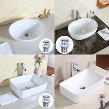 Oval Square Bowl White Ceramic Basin Sink+ Pop Up Waste Tap Bathroom Countertop