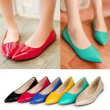 6 Colors Womens Girls Pointed Toe Slip On Loafer Ballet Flat Shoes Plus Size AU