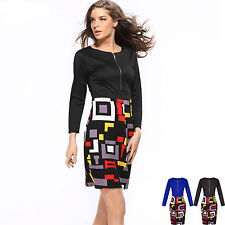 Formal Women's Work Stretch Evening Cocktail Party Pencil Long Sleeves Dress w10