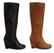 Ladies Womens The Knee High Wedge Heel Zip Up Biker Riding Boots Shoes Size