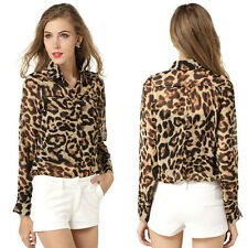 Women Leopard Chiffon Blouse Casual Loose Long-sleeve Shirt Tops Blouse New w146