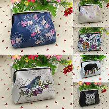 Womens Girls Oilcloth Owl Flower Coin Purse Wallet Bag Key Card Holder Case