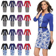 Formal Women's Casual  Bodycon Long Sleeve Evening Party Cocktail Mini Dress wqu