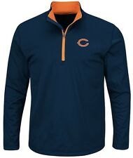 Chicago Bears NFL Mens Majestic Therma Base 1/4 Zip Fleece Navy Big & Tall Sizes
