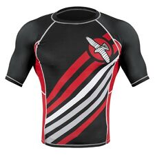 Hayabusa Elevate Rash Guard Short Sleeve Black White BJJ MMA No-Gi RashGuard