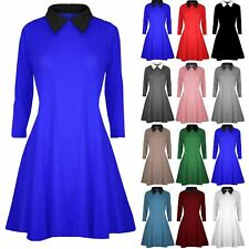 Ladies Womens Long Sleeve Swing Dress Peter Pan Collared Maternity Mini Dress