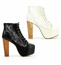 LADIES WOMENS BLACK WHITE HIGH BLOCK HEEL LACE UP PLATFORM ANKLE BOOTS SHOES UK
